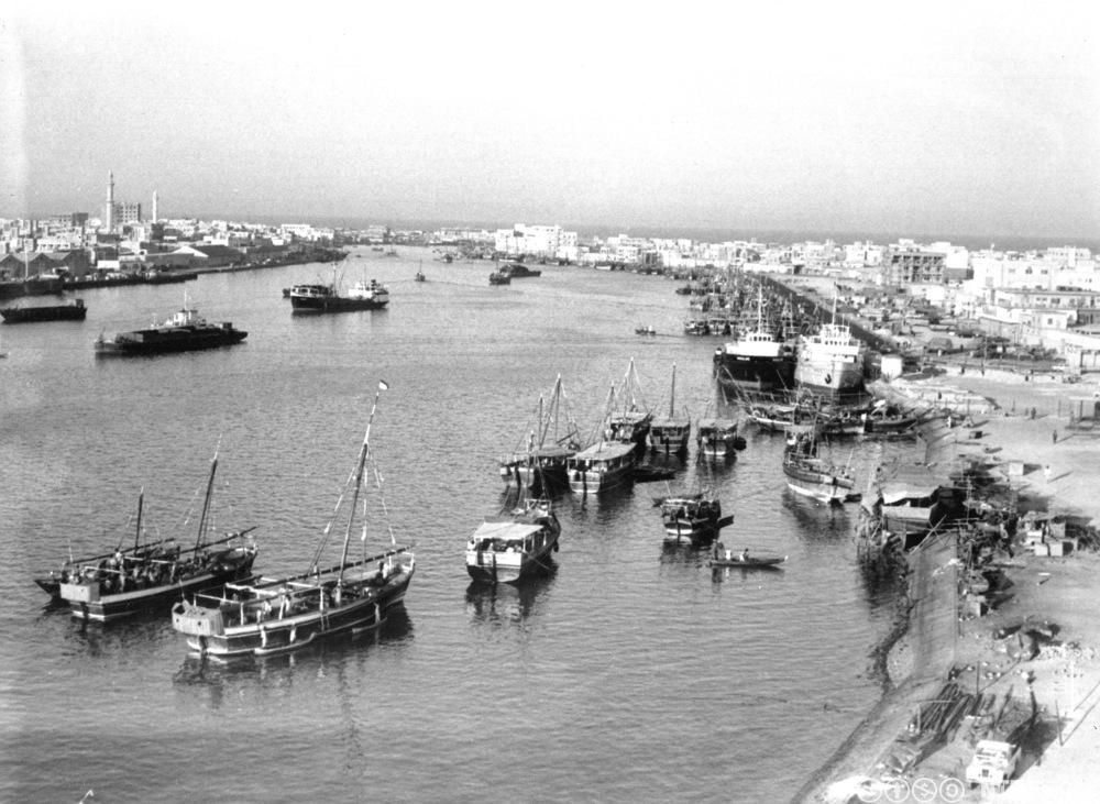 Havna i Dubai i 1969. Foto.