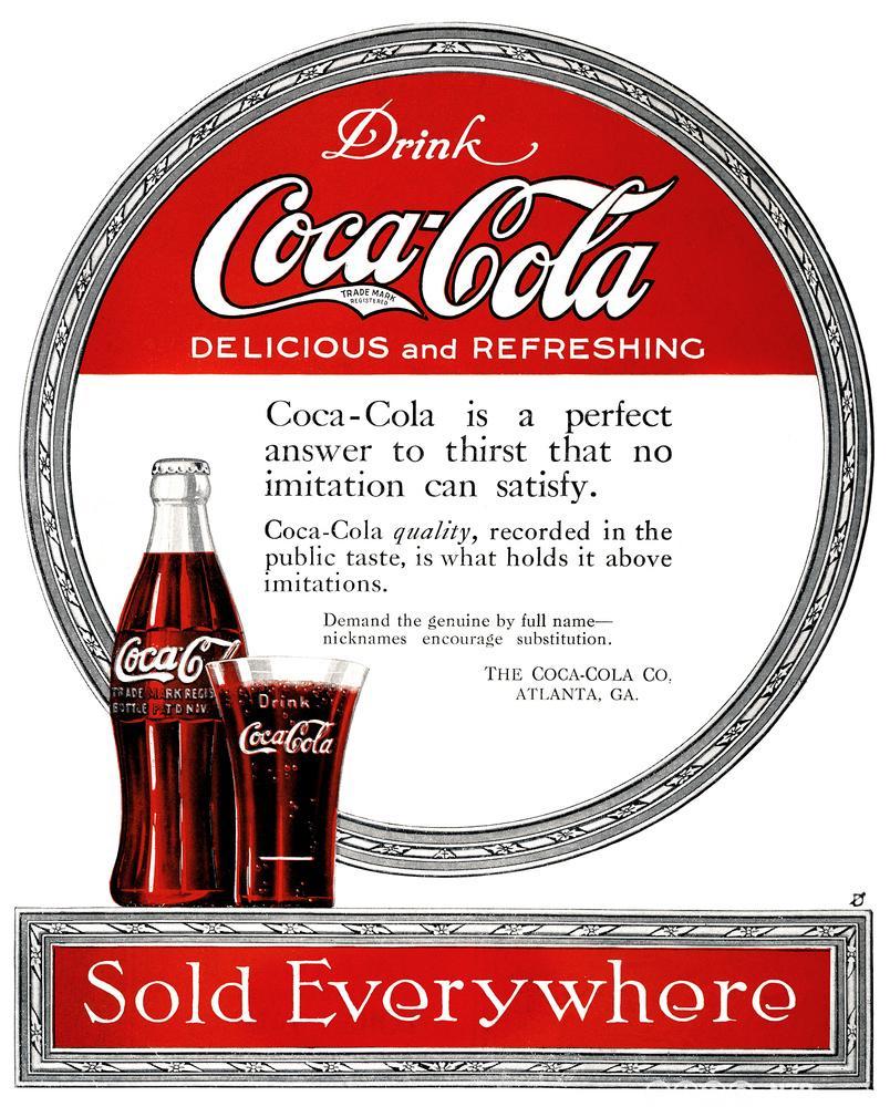 Amerikansk reklame for Coca-Cola fra 1919. Illustrasjon.