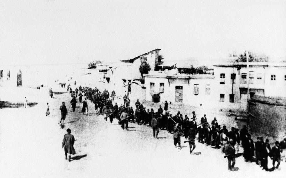 Armenere ble tvunget til å marsjere over lange avstander av det ottomanske Tyrkia under første verdenskrig. Foto.