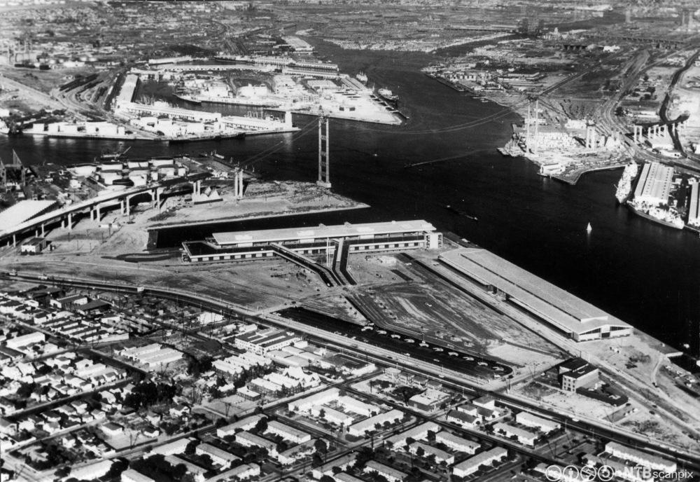 Oversiktsbilde over havna i Los Angeles i 1963. Foto.