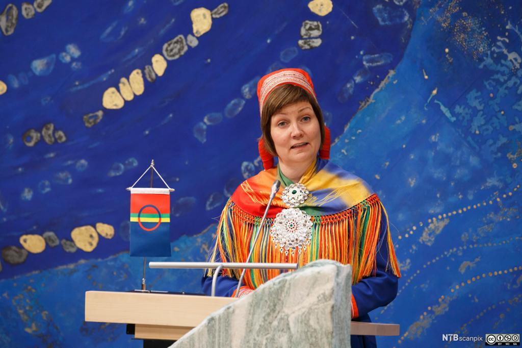 Sametingspresident Aili Keskitalo taler til Sametinget i Karasjok i 2015. Foto.