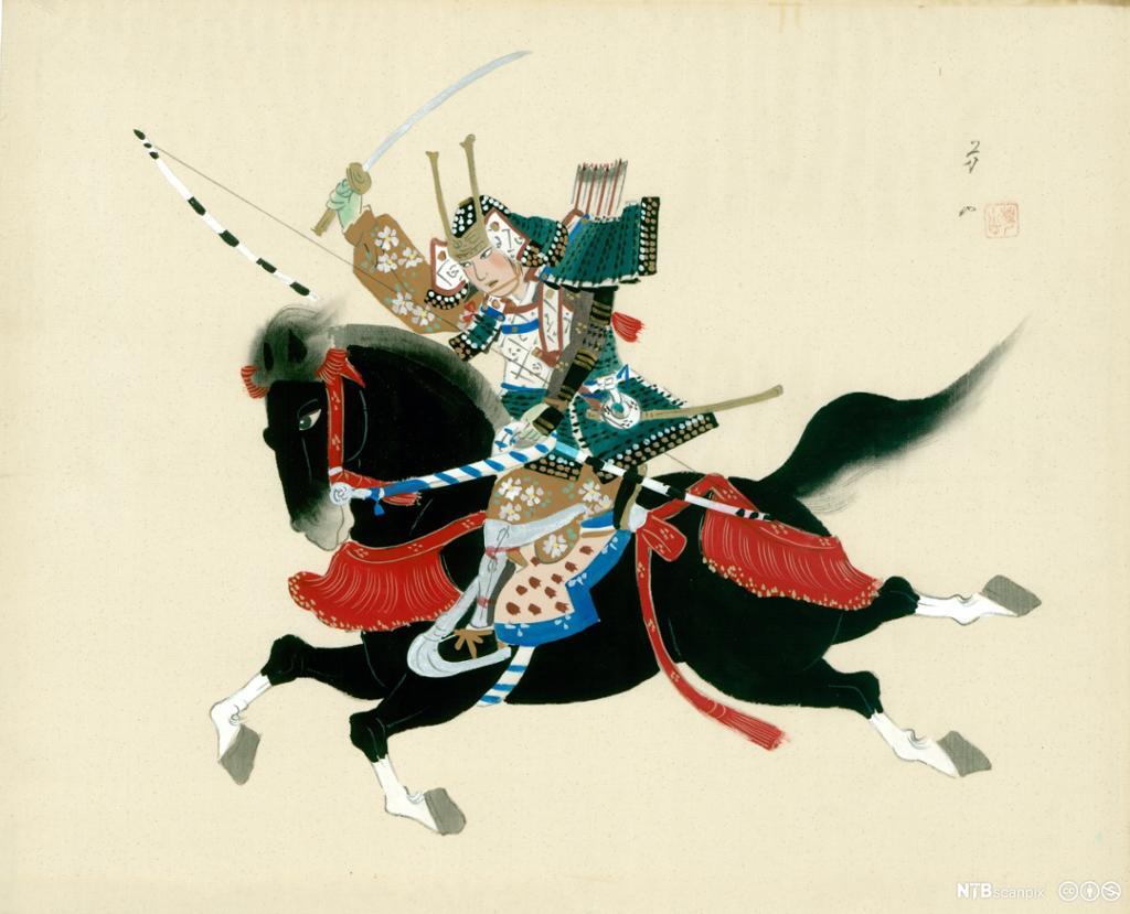 Japansk samuraikriger til hest med sverdet hevet. Maleri.