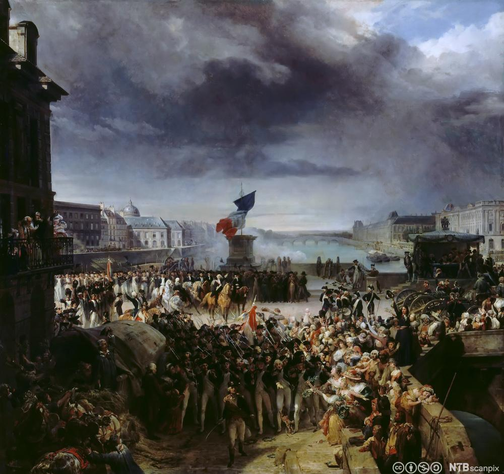 Nasjonalgarden i Paris drar ut i hæren, september 1792. Maleri.