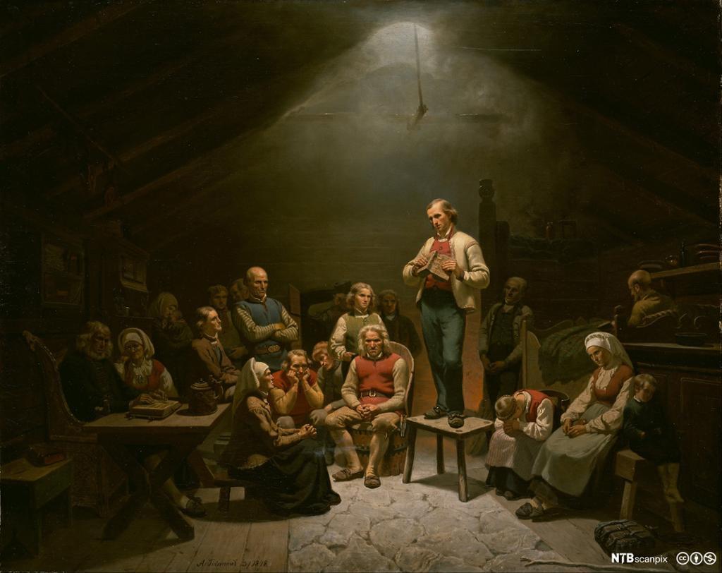 Maleriet forestiller en gruppe bønder i folkedrakter som er samlet i en enkel, mørk stue for å høre på en predikant. De er alvorlige. Predikanten står på en krakk midt i rommet og holder en bok. Man forstår ut fra tittelen at mannen er tilknyttet den kristne vekkelsesbevegelsen haugianismen på begynnelsen av 1800-tallet.