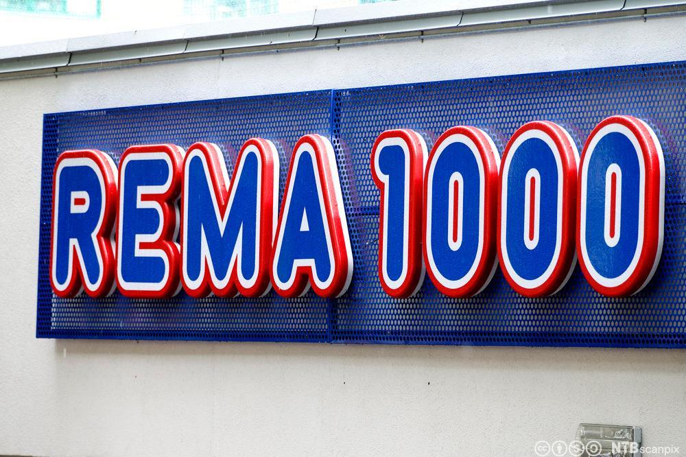Logo Rema 1000. Foto.