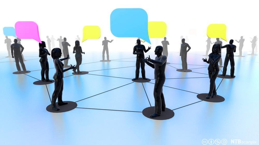 Nettverk av mennesker som kommuniserer. Illustrasjon.