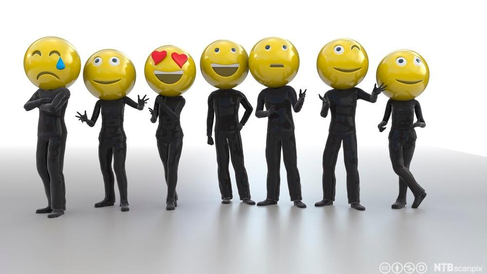 Mennesker med emoticons til ansikt. Illustrasjon.