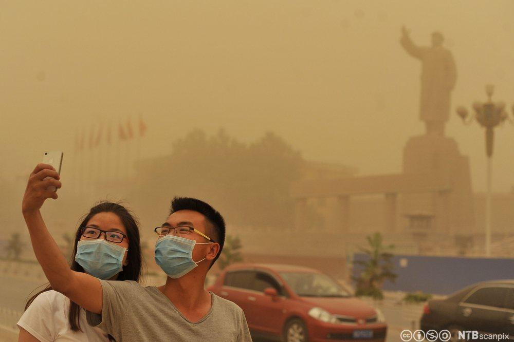 Sandstorm i Kashgar. Foto.
