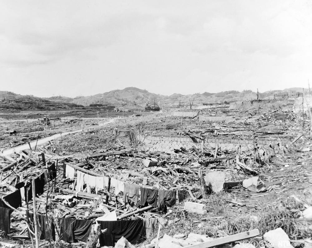Ødeleggelser i Nagasaki etter at USA slapp en atombombe over byen, 9. august 1945. Foto.