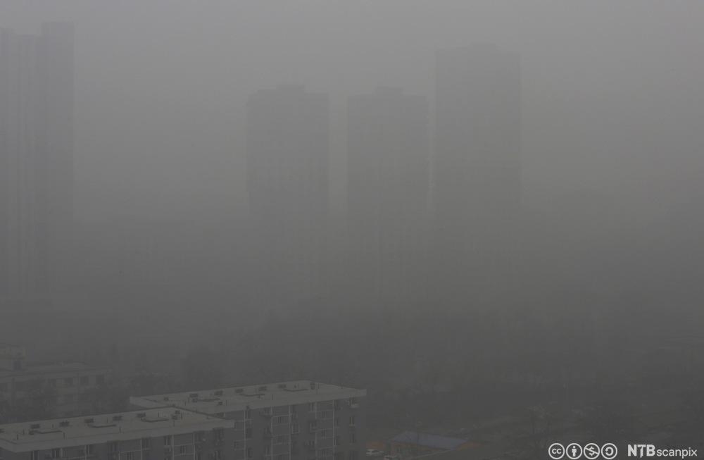 Høyblokker i Beijing er såvidt synlige på grunn av tett forurensing. Foto.