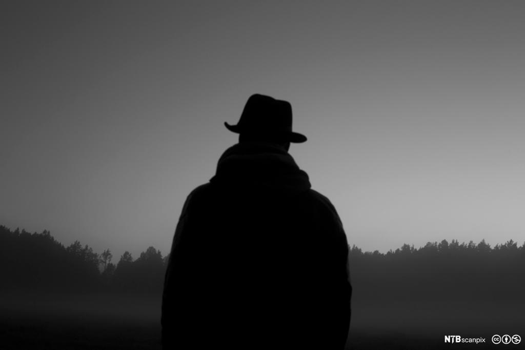 Siluett av mann med hatt. Foto.