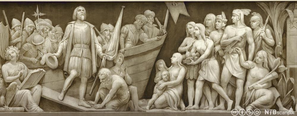 Frise av landgangen til Christopher Columbus i 1492. Foto.