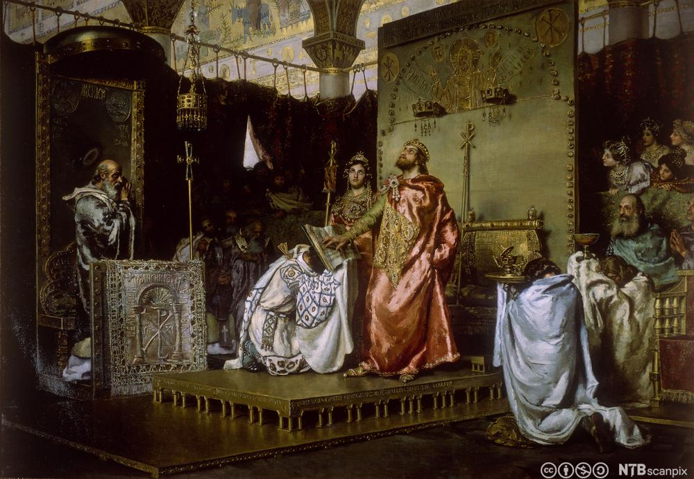 Historisk fremstilling av visgoternes konvertering til katolisismen i Toledo 589