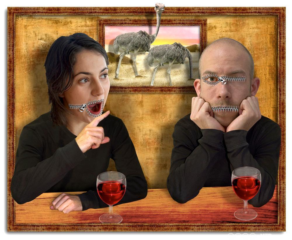 Kvinne som snakker og mann som tier stille, med glidelåser til munn. Illustrasjon.