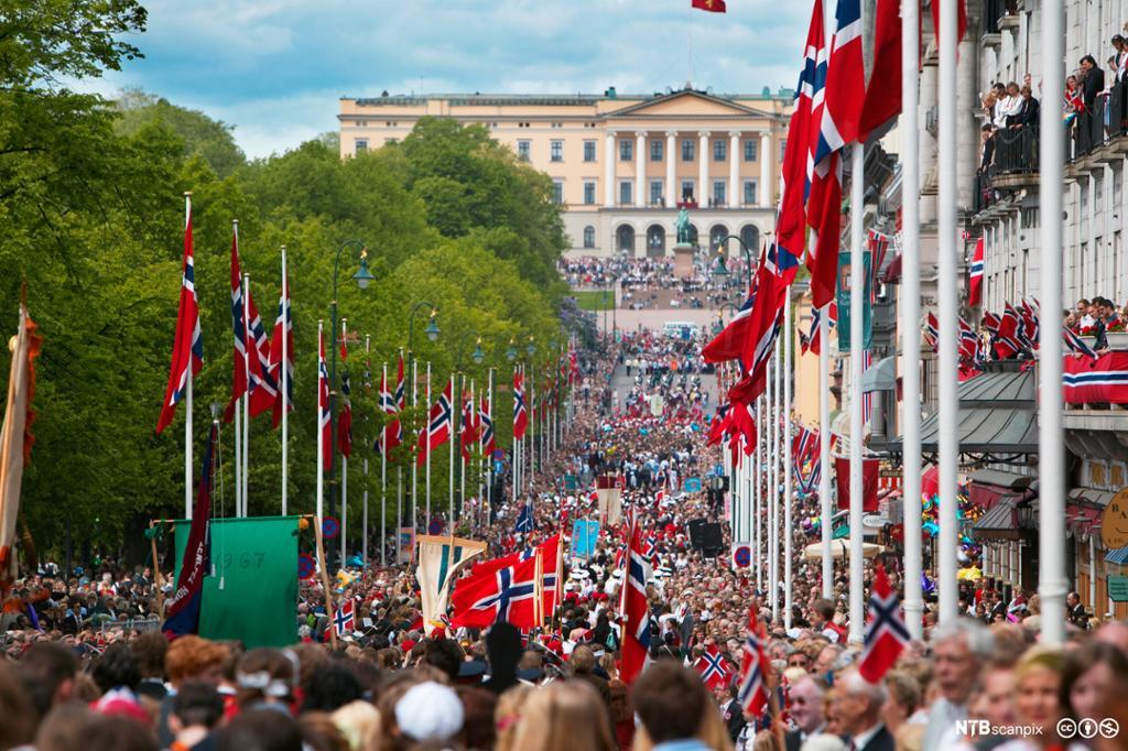 Oversiktsbilde av barnetoget 17-mai opp Karl Johansgate. Foto.