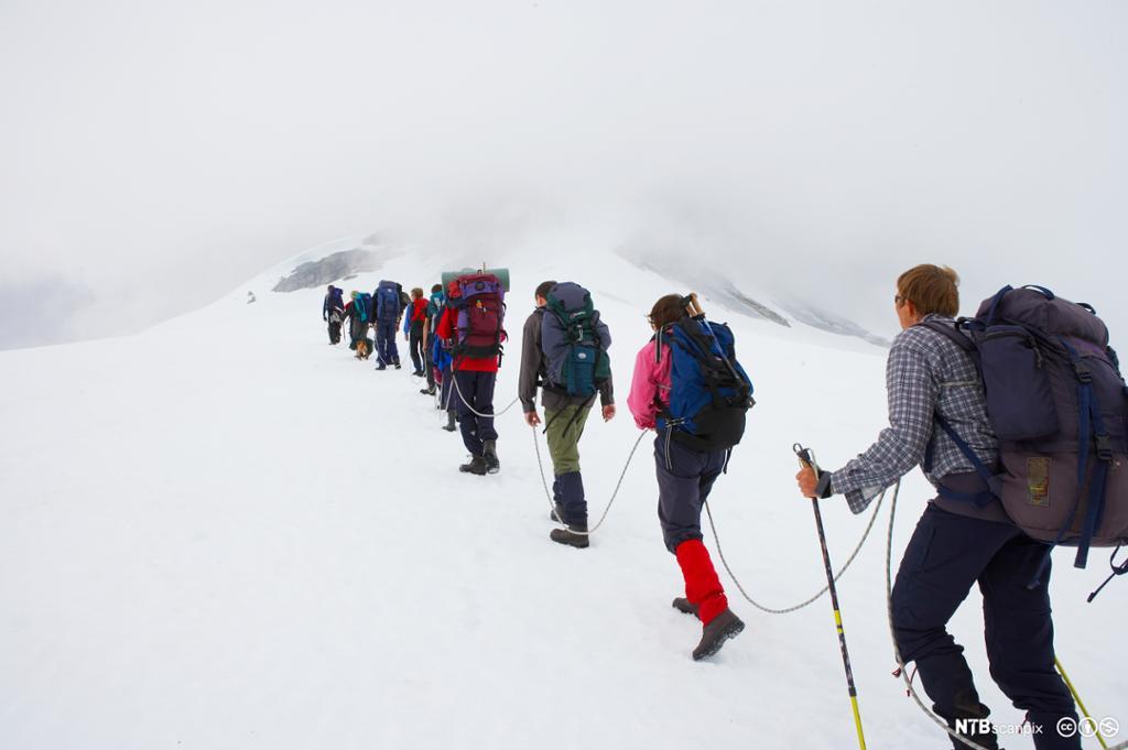 Brevandring med guide på Fanaråken. Foto.