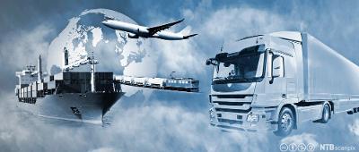 De fire transportsystemene –bilder av et skip, et fly, et tog og en lastebil er satt sammen. Bakgrunnen er en skyete himmel, og jorda kan skimtes bak skyene. Fotokollasj.