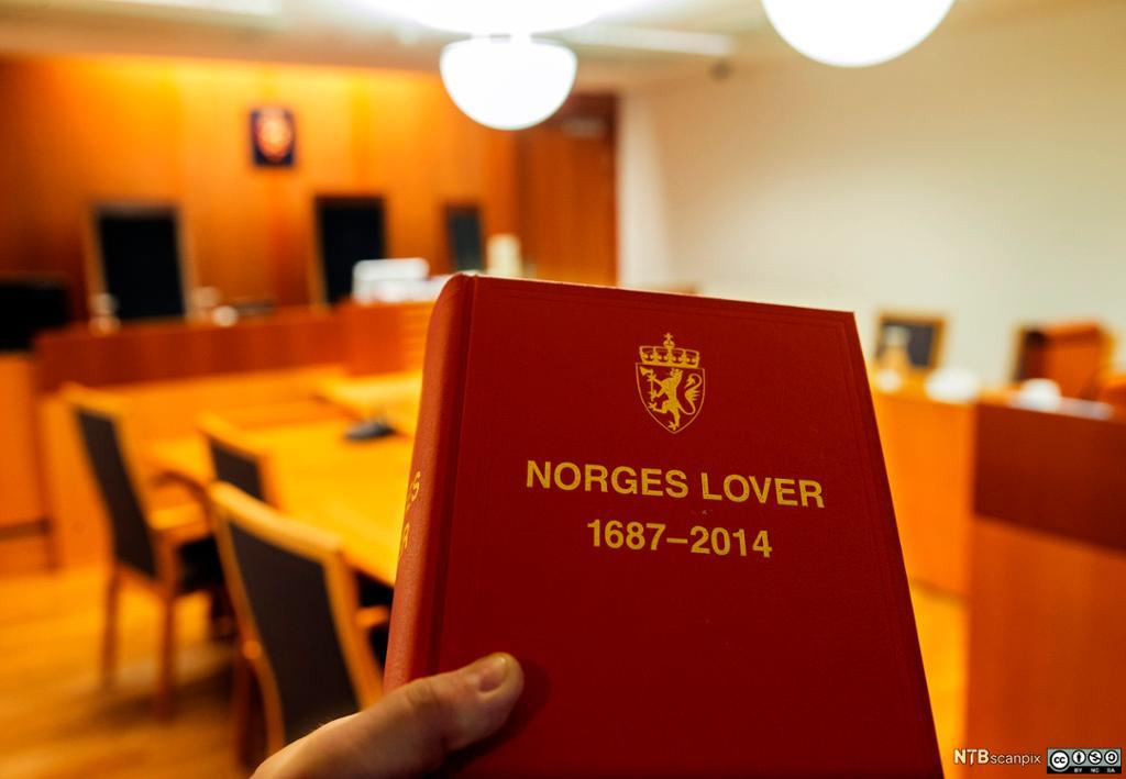Bilete av Knut Storberget med Norges Lover.