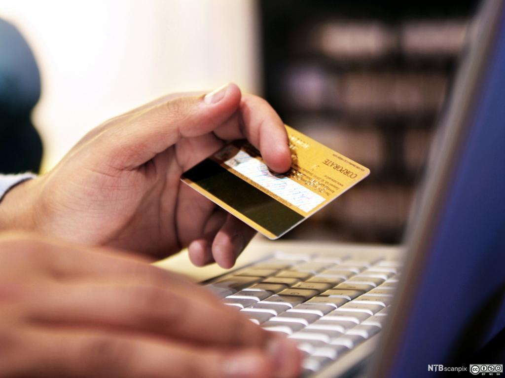 En person bruker kredittkort ved netthandel. Foto.
