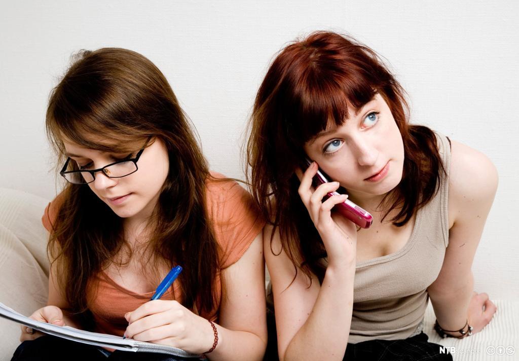 To jenter gjennomfører en markedsundersøkelse. Foto.