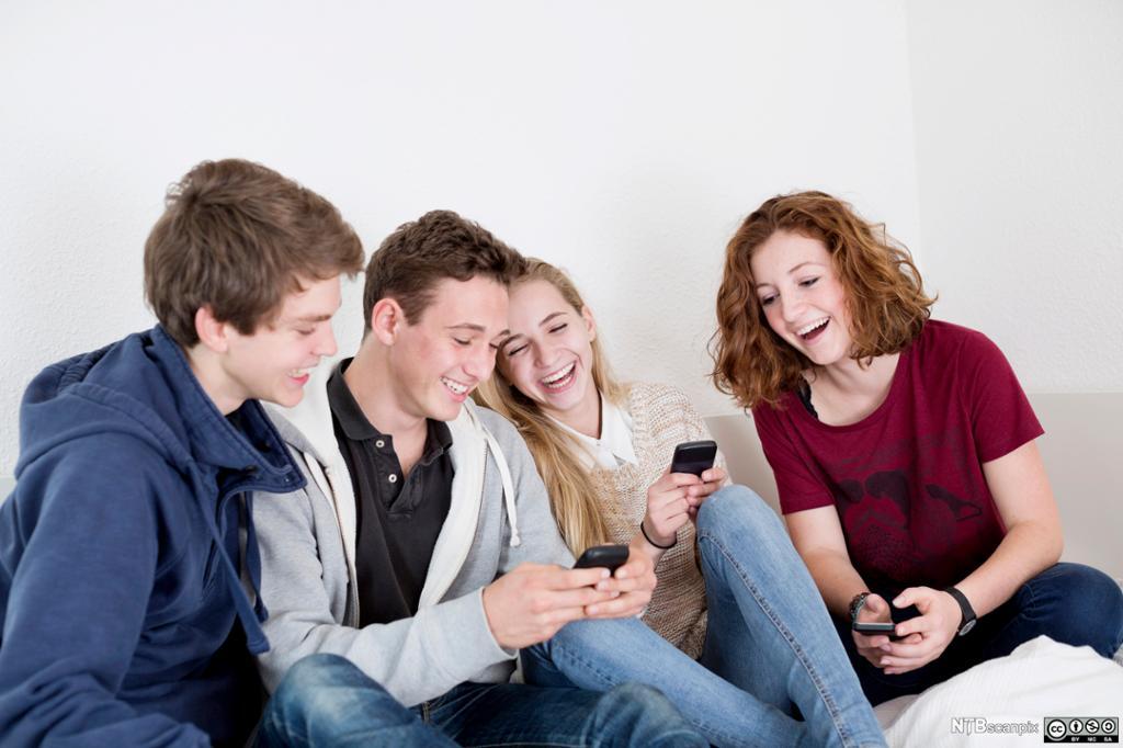 Glade ungdommer ser på mobiltelefonene sine. Foto.