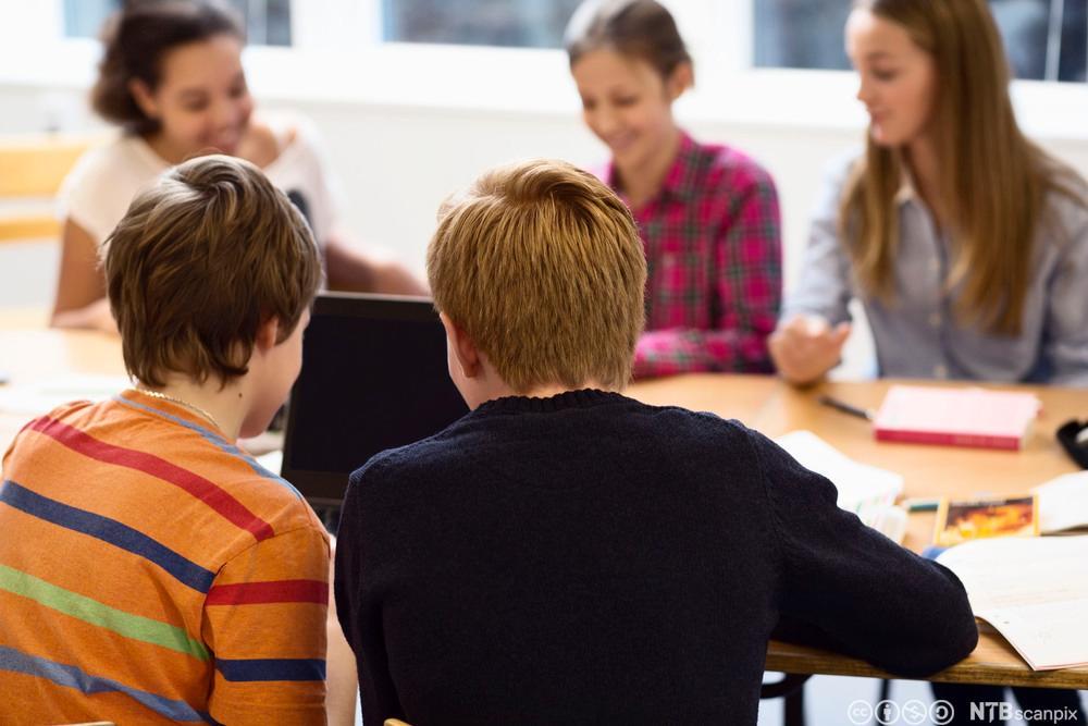 Fem elever som samarbeider. Foto.