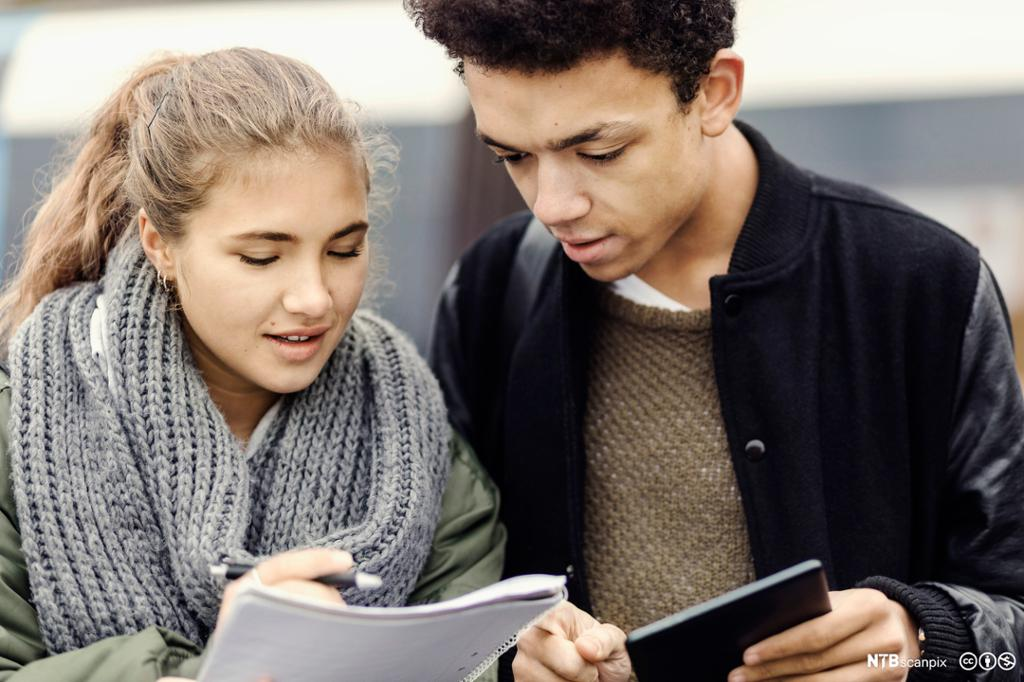 En jente og en gutt snakker sammen om notater. Bilde.