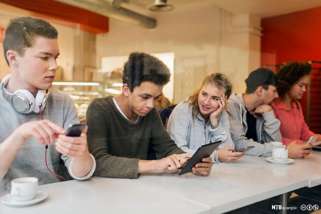 Ungdommer sitter med mobiler og nettbrett i en kantine. Foto.