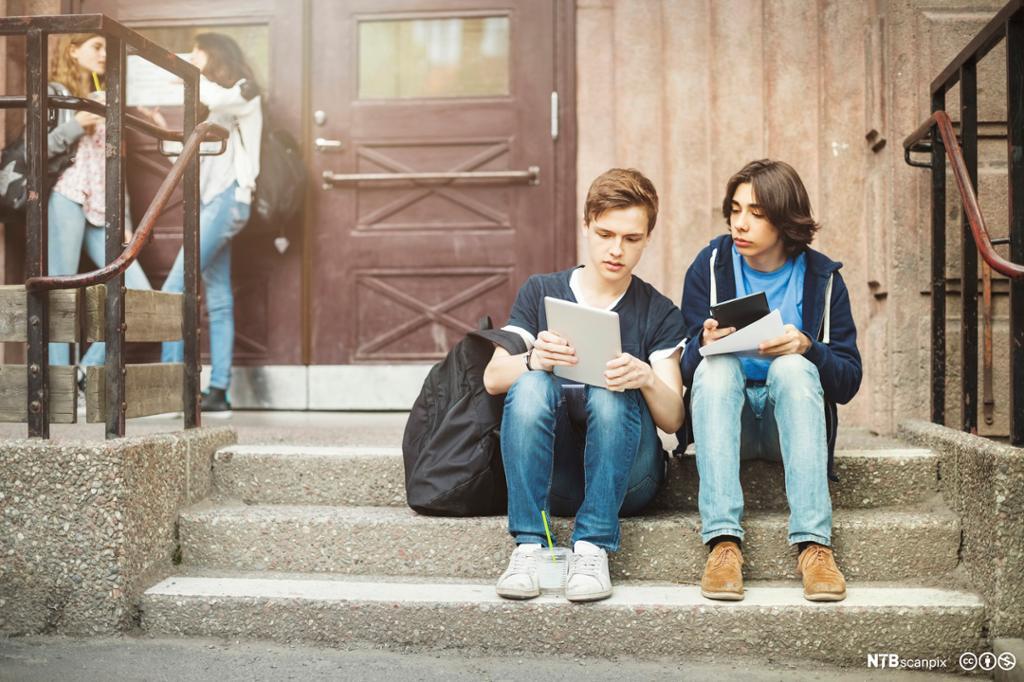 To gutter sitter på skoletrapp og diskuterer skolearbeid. Foto.