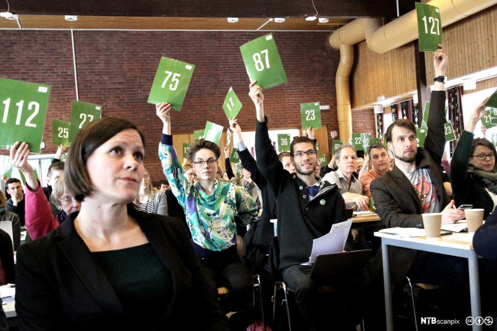 Møtedeltakere som holder opp delegatnummeret sitt i ei avstemning. Foto.