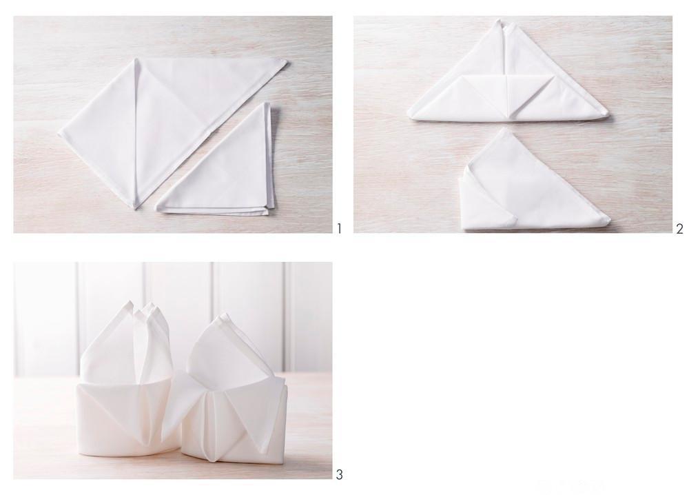 Steg for steg hvordan man kan brette en serviett. Foto.