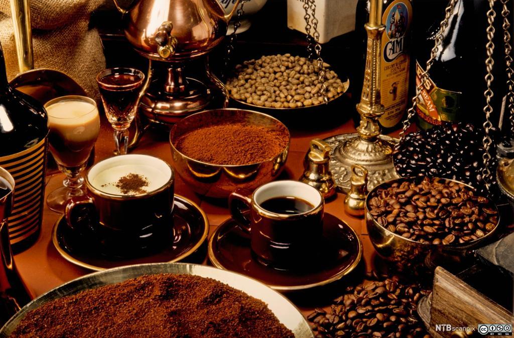 Mange forskjellige kaffibønner og kopper med ulike kaffitypar. Foto.