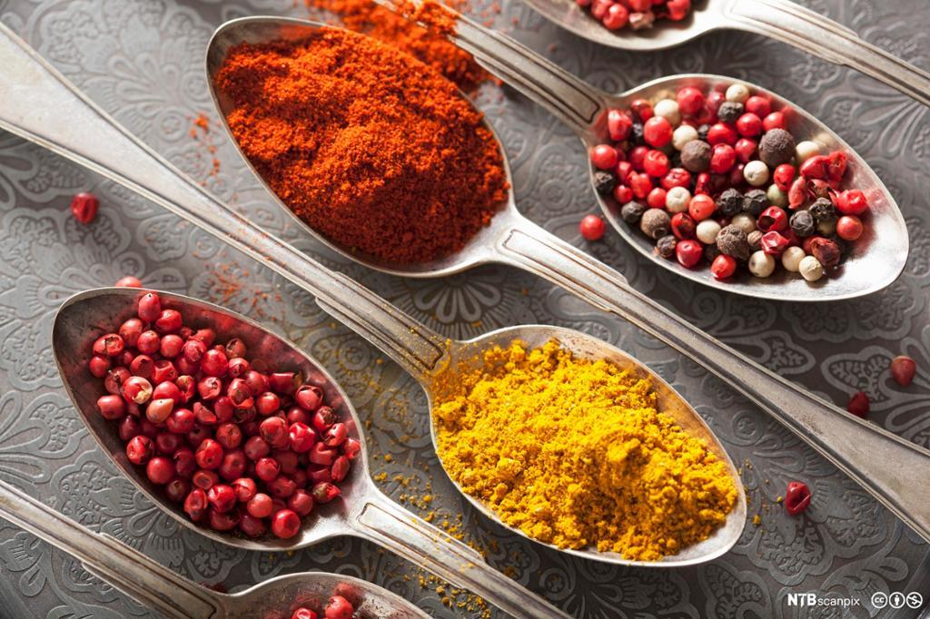 Spiseskjeer med ulikt krydder. Foto.