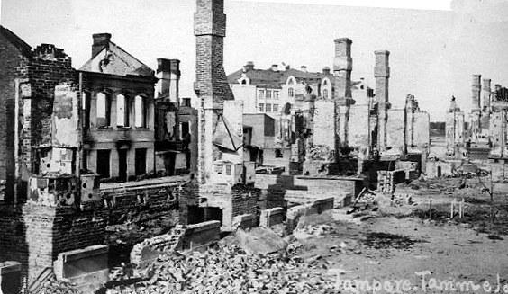 Ødeleggelser i byen Tampere etter den finske borgerkrigen. Foto.