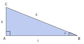 Rettvinkla trekant ABC. Illustrasjon