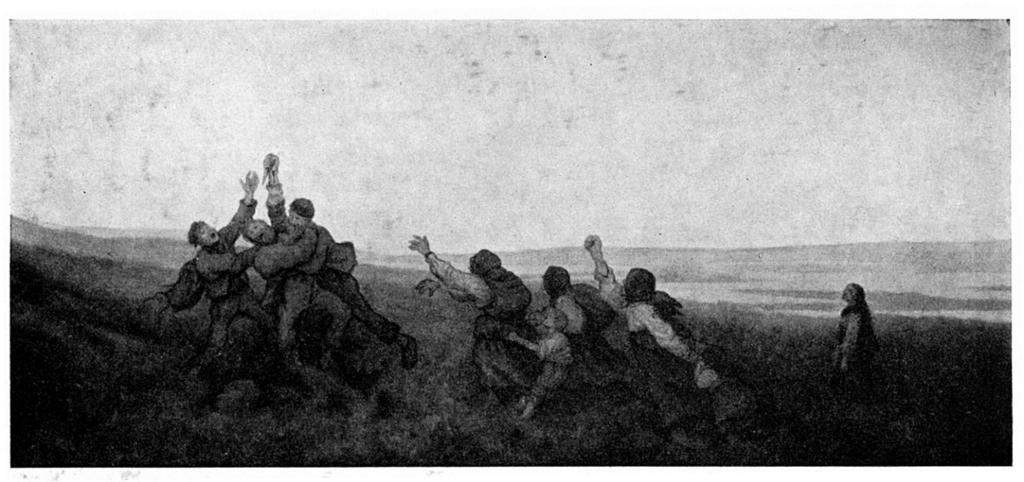 Taterslagsmaal. Tre menn slåss, en med en knvi i hånden, flere kvinner står rundt med hendene hevet. Tegning.