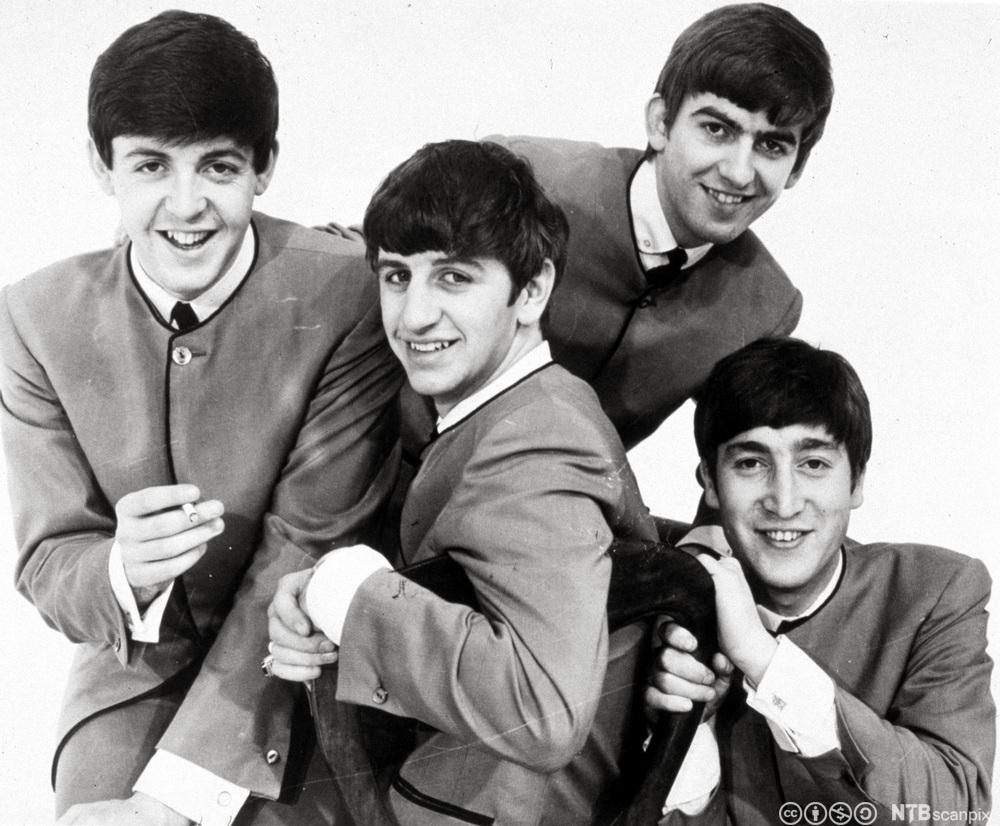 Bandet the Beatles med medlemmene Paul McCartney, George Harrison, Ringo Starr og John Lennon. Foto.