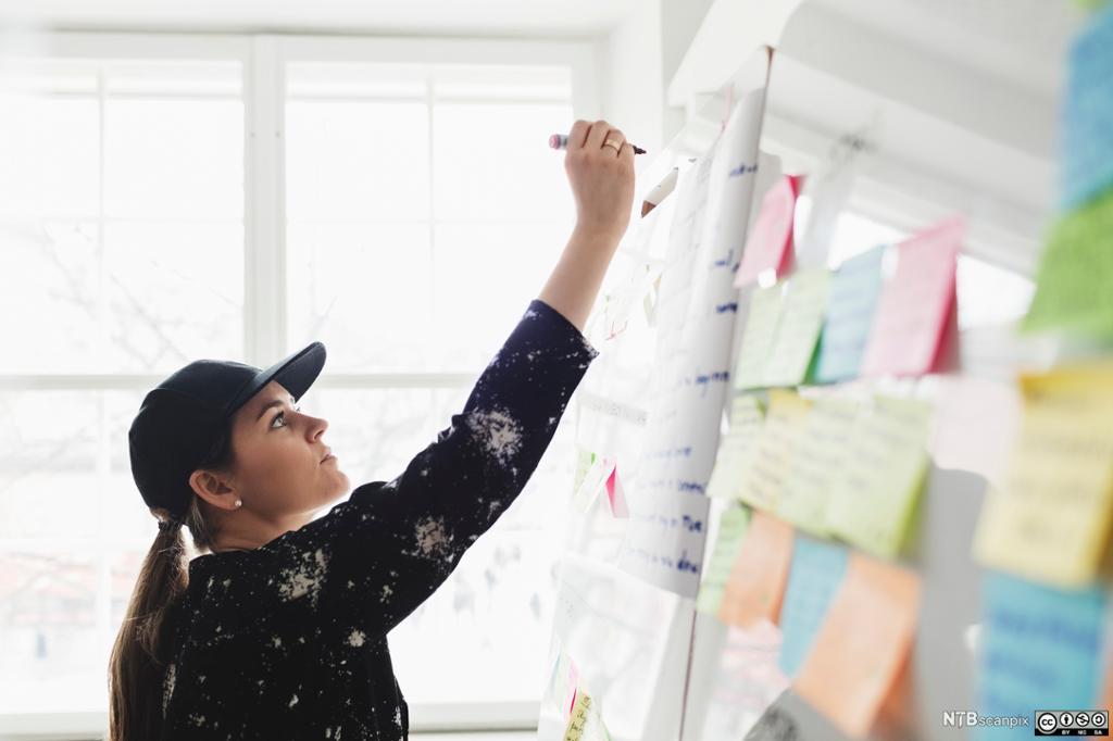 Forretningsutvikler skriver på whiteboard-tavle. Foto.