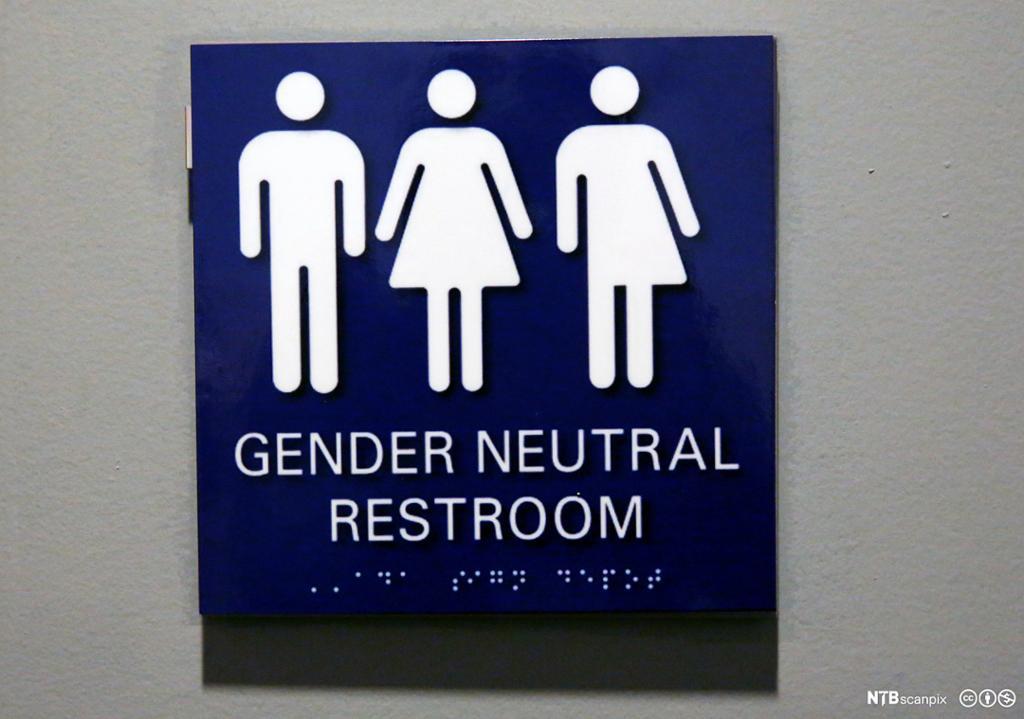 Et skilt som viser kjønnsnøytralt toalett. Foto.