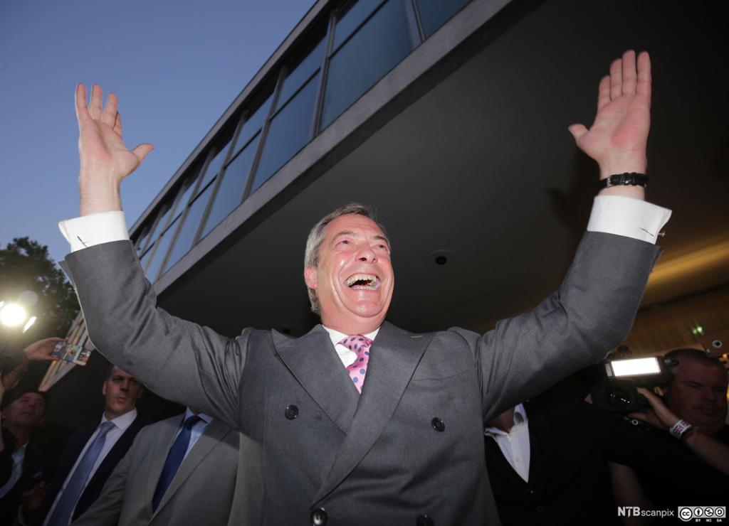 Nigel Farage, chairman of the UK Independence Party (UKIP), smiles as he leaves a Leave.EU referendum party in London, Britain, 24 June 2016.