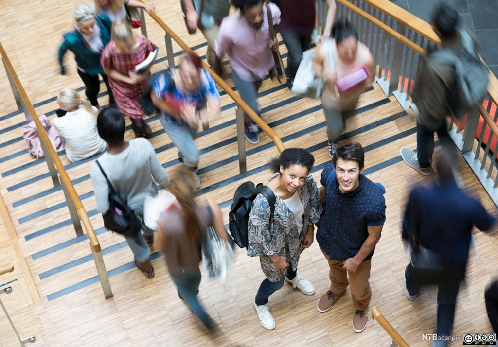 Studenter på vei opp eller ned ei brei trapp. To studenter, en gutt og ei jente, ser opp mot kamera. Foto.