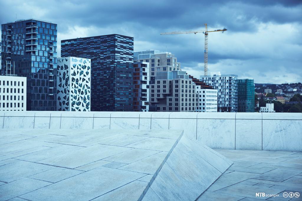 Et fotografi av høyblokker i Oslo.