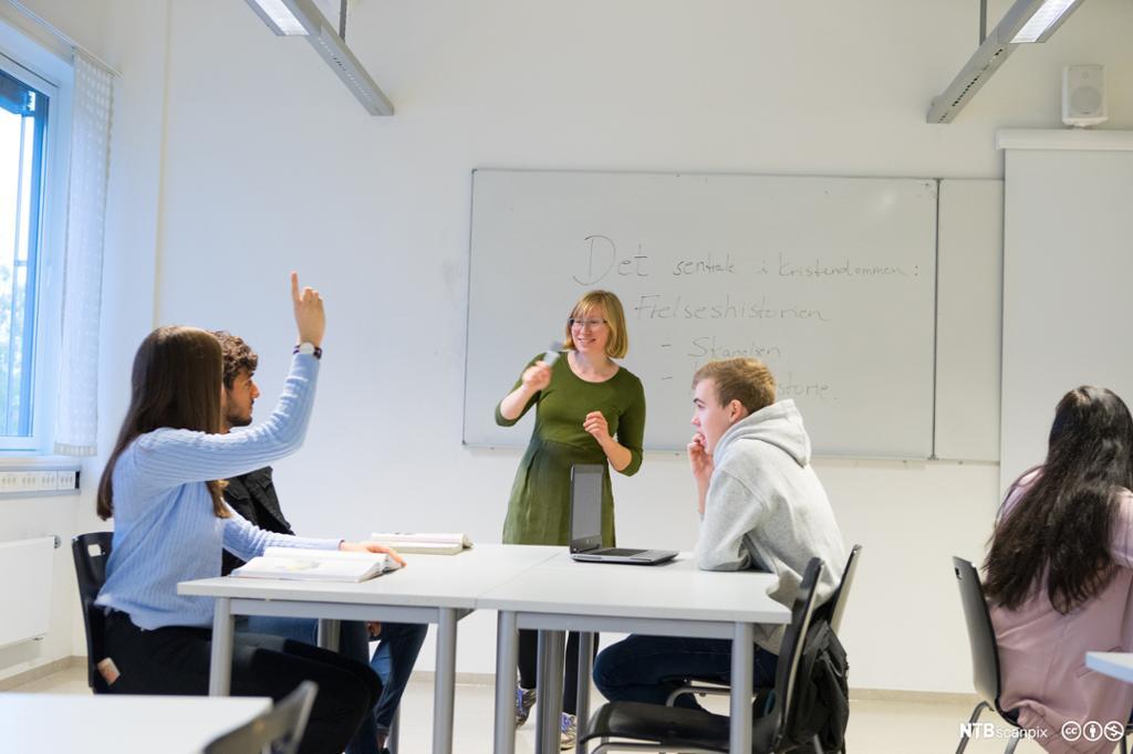 Elever i klasserom videregående skole. Foto