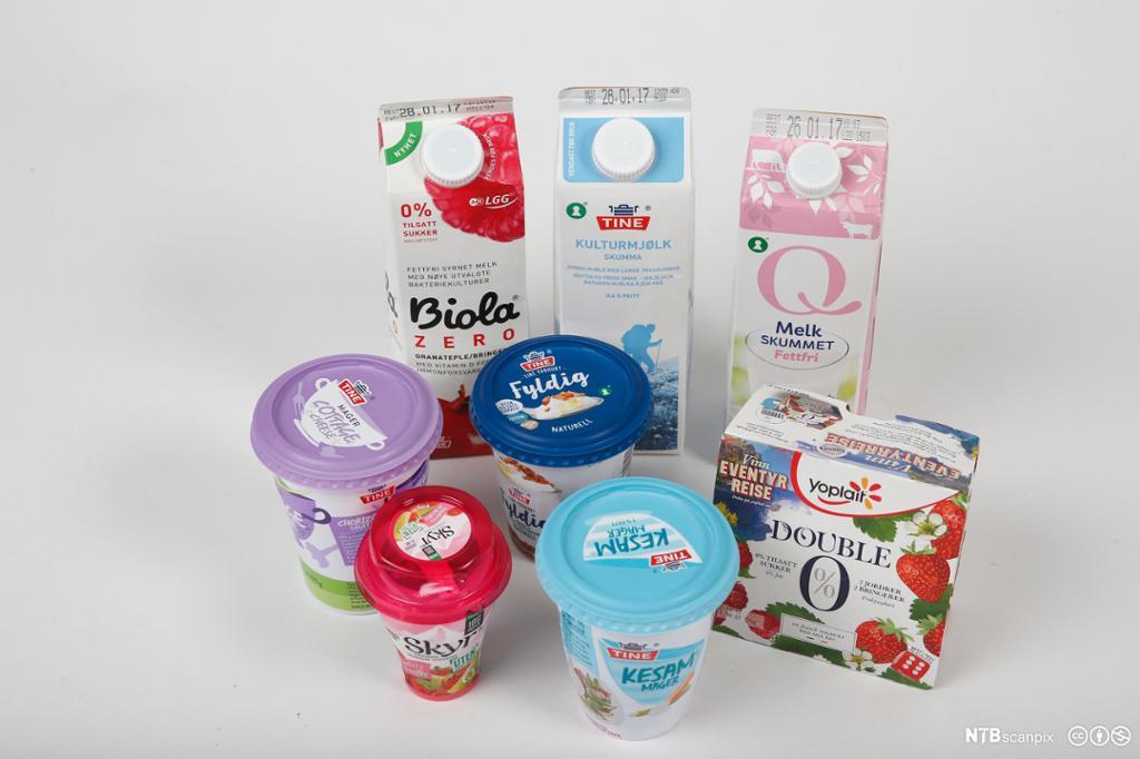 Melk og meieriprodukter på et bord. Foto.