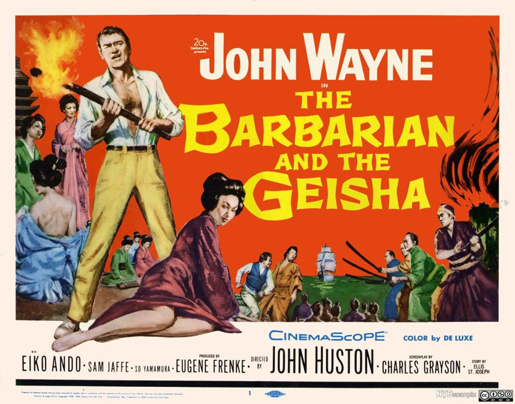 Filmplakat av The Barbarian and the Geisha, fra 1958.