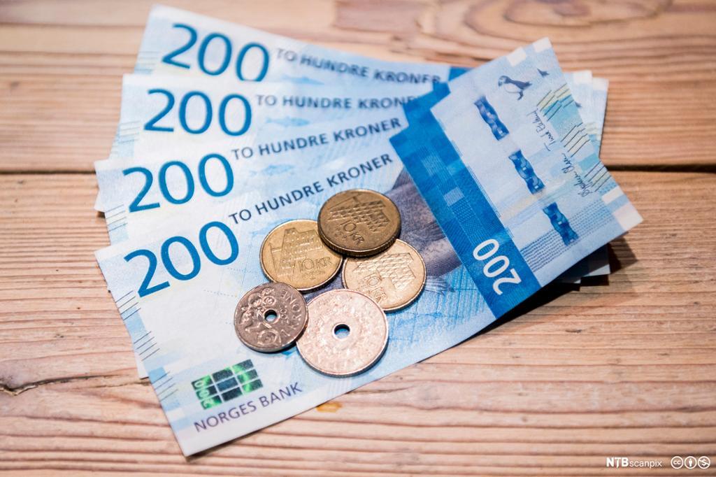 Norske mynter og sedler. Foto.