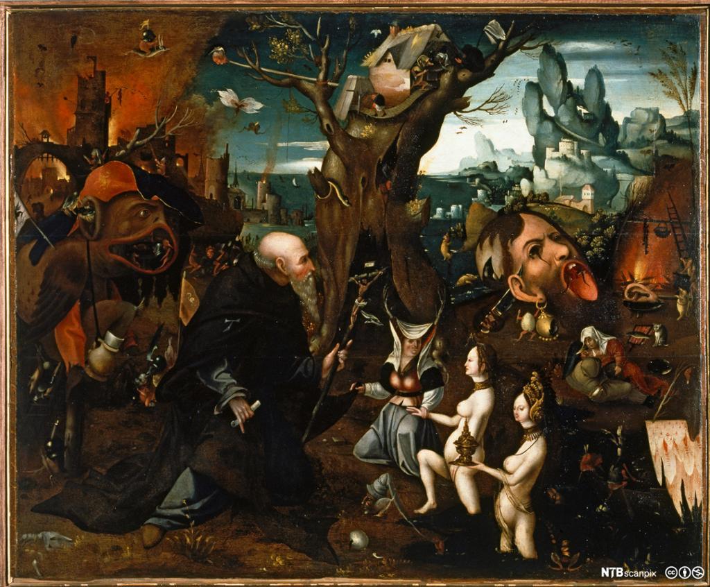 Surrealistisk motiv med en gammel mann omgitt av ulike fristelser og skremmende figurer og situasjoner. Maleri.