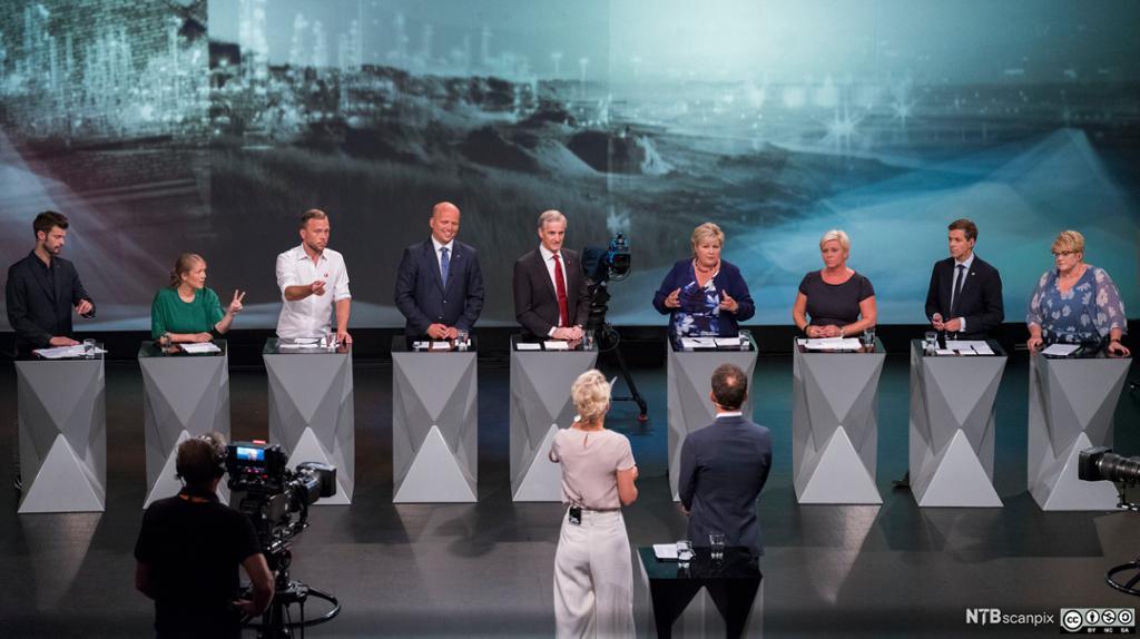 TV-sendt partilederdebatt fra Arendal, august 2017. Foto.