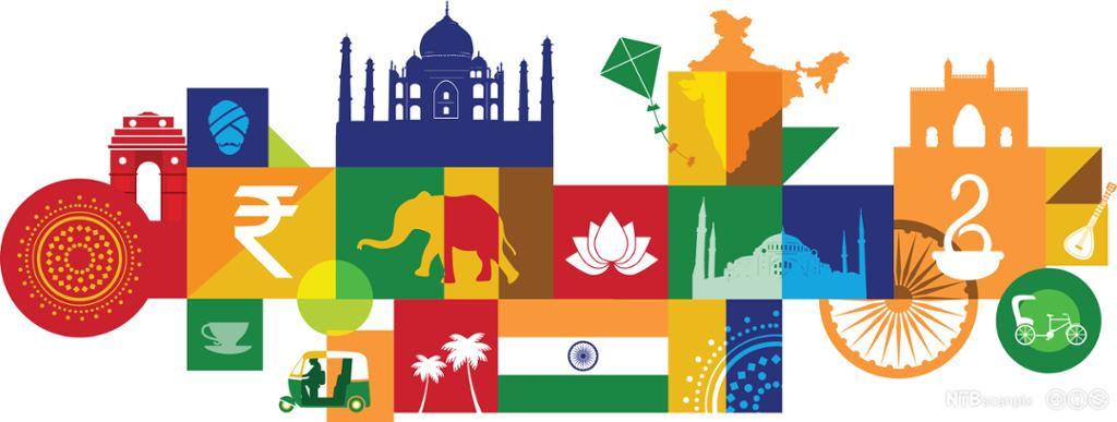 llustration of tourist attractions in India