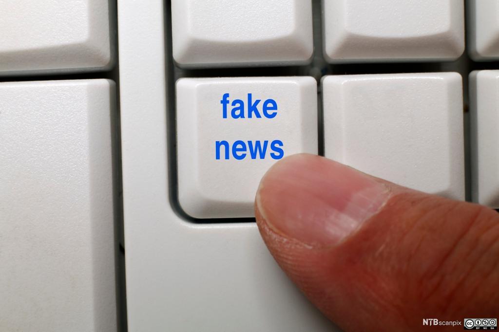 Fake news skrevet på et tastatur. Foto.